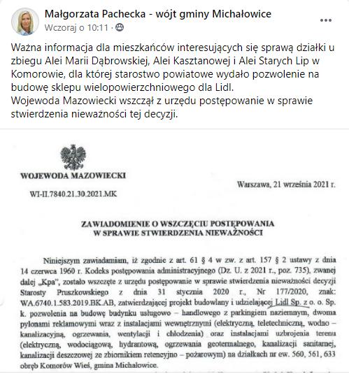 Małgorzata Pachecka: Wojewoda Mazowiecki wszczął postępowanie w sprawie stwierdzenia nieważności pozwolenia na budowę Lidla w Komorowie